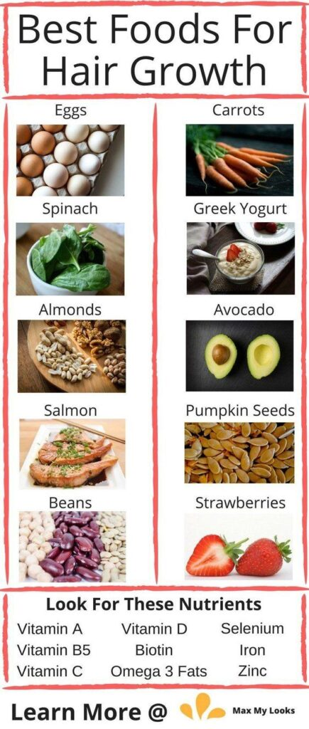 foods for hair growth infographic