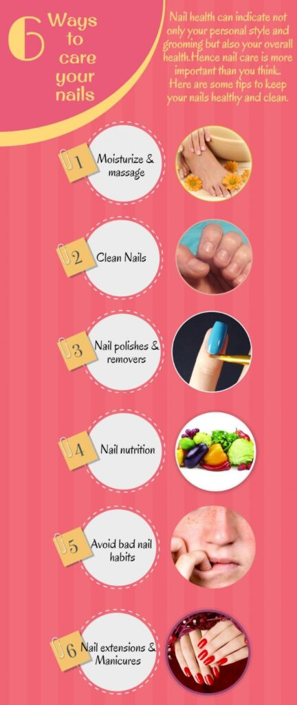 how to take care nails infographic