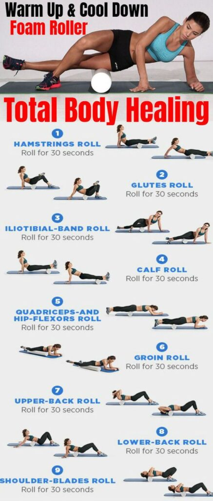 warm up foam rolling exercise infographic